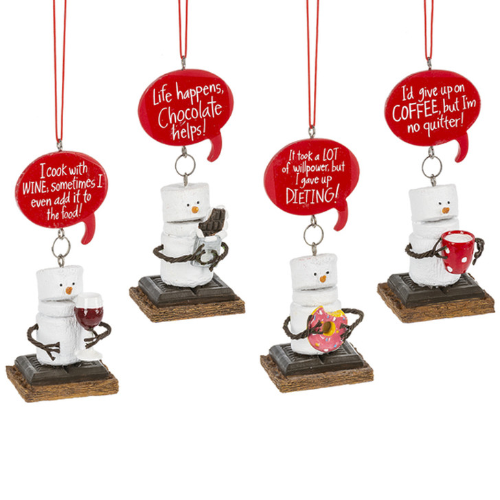 """4"""" Toasted S'mores Wine, Coffee, & Chocolate Christmas Ornament MX177190"""