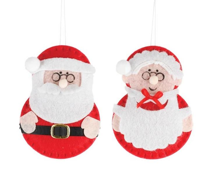 "4.75"" Set of 2 Felt Santa and Mrs. Claus Christmas Ornament 9739816"