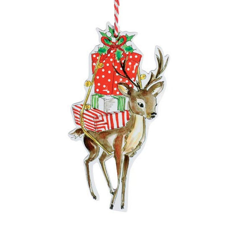 """5"""" Wooden Reindeer with Gifts Christmas Ornament 9739753"""