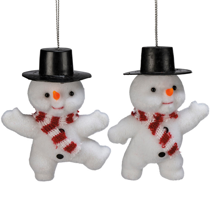 Primitives by Kathy Vintage Inspired Flocked Snowmen Ornament 107776