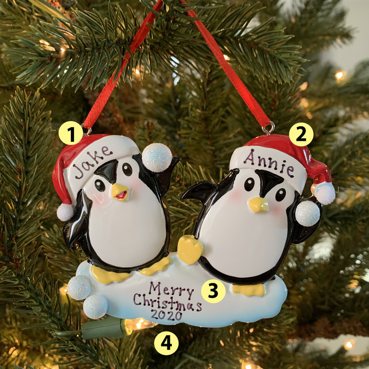 Penguin Couple Throwing Snowballs Personalized Christmas Ornament OR1318 -2