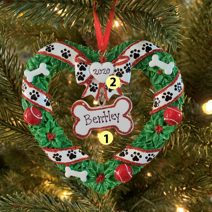 Puppy's First Christmas Wreath Personalized Christmas Ornament OR1612 -2
