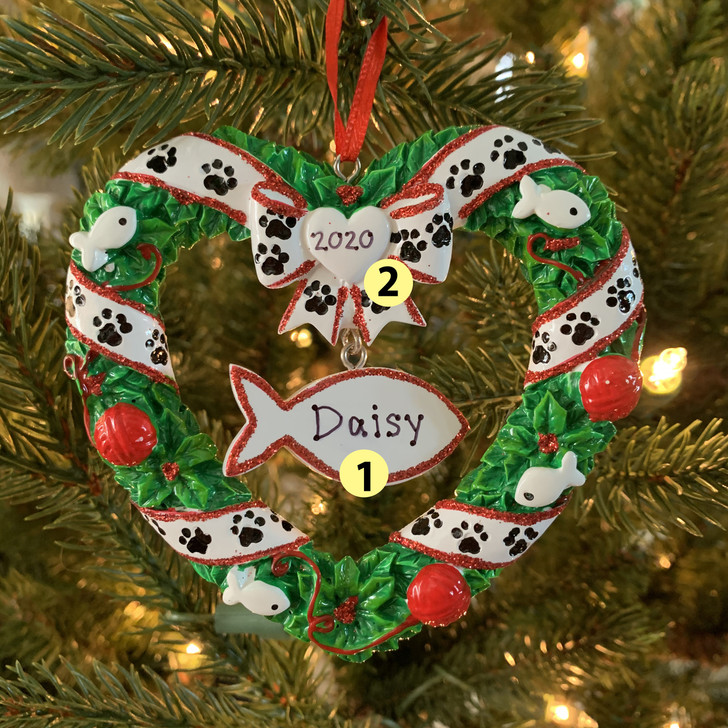 Kitty's First Christmas Wreath Personalized Christmas Ornament OR1613 -2