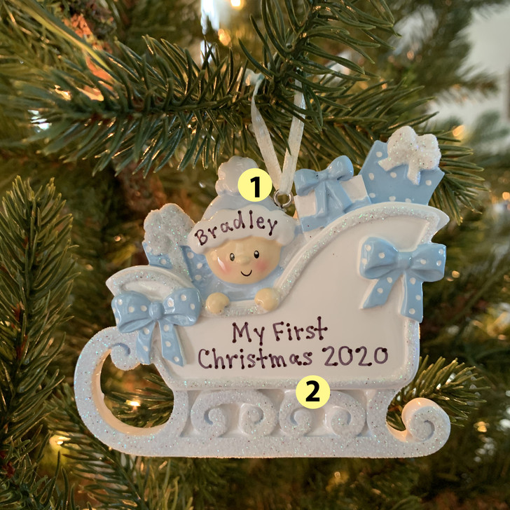 Baby's First Christmas Boy In Sleigh Personalized Christmas Ornament OR1649-B -2