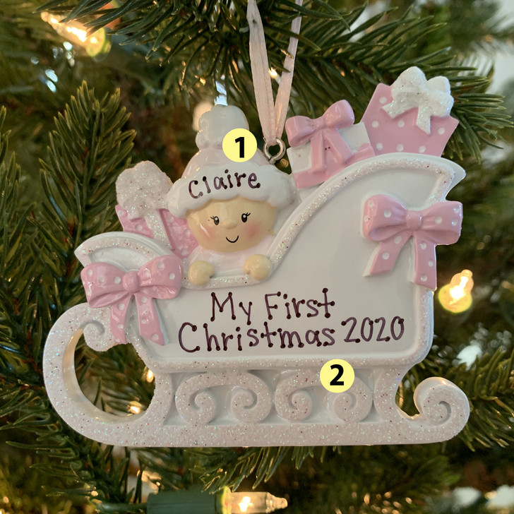 Baby's First Christmas Girl In Sleigh Personalized Christmas Ornament OR1649-P -2