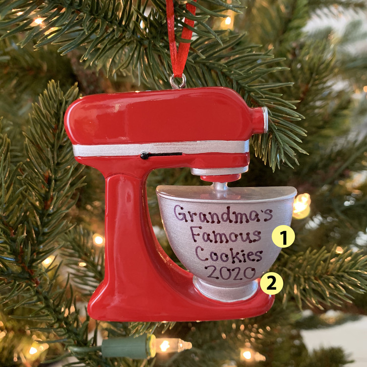 Red Baker's Mixer Personalized Christmas Ornament OR1756 -2