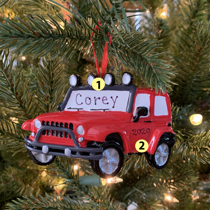 Red Jeep Personalized Christmas Ornament OR1763 -2