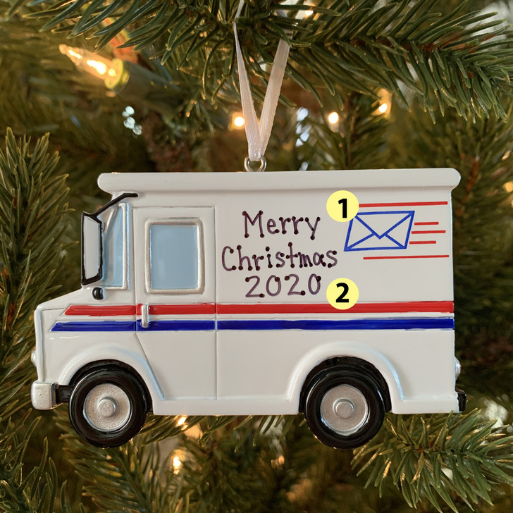 Postal Worker Mail Truck Personalized Christmas Ornament OR1815 -2
