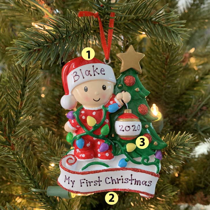 Baby's First Christmas Decorating Christmas Tree Personalized Ornament OR1847 -2