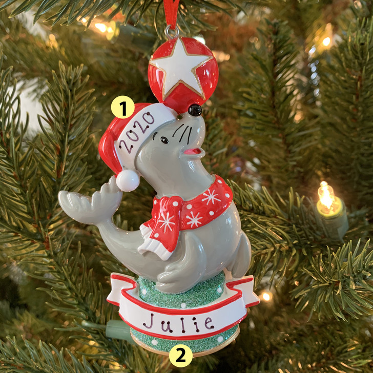 Baby Sea Lion Personalized Christmas Ornament OR1851S -2