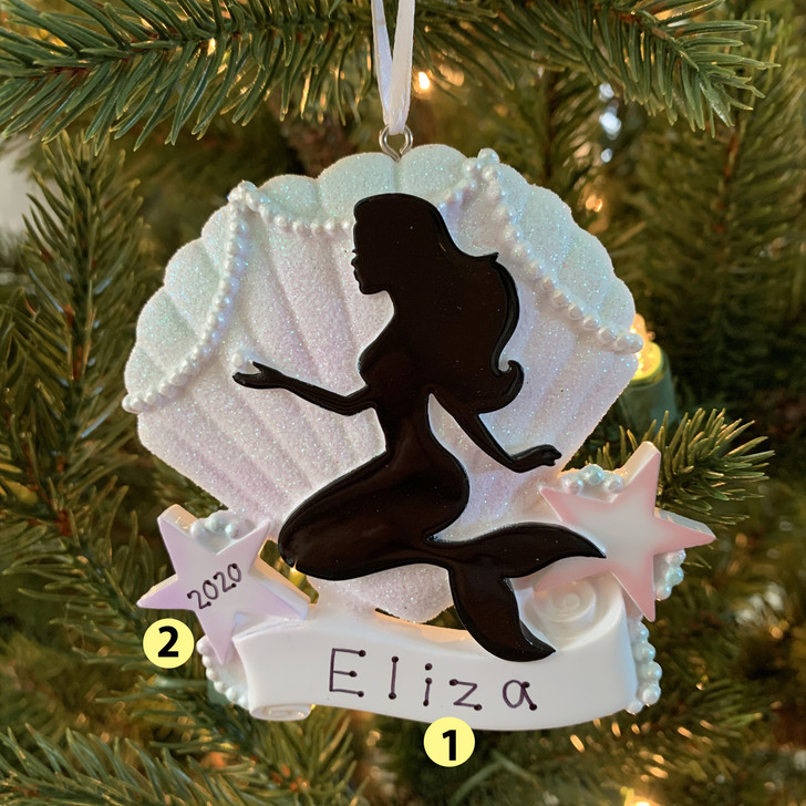 Mermaid Silhouette Personalized Christmas Ornament OR1853 -2
