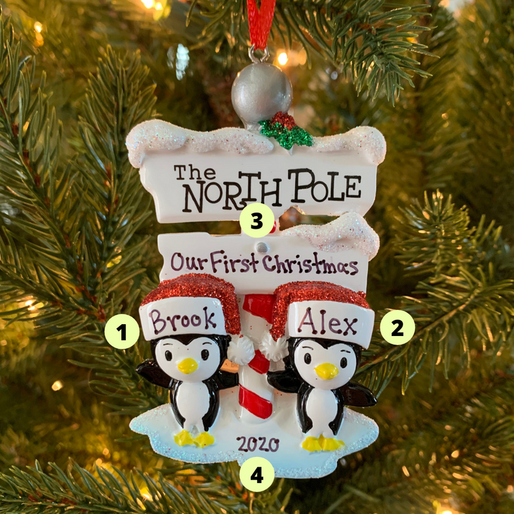 Penguin Couple at The North Pole Personalized Christmas Ornament OR1739-2
