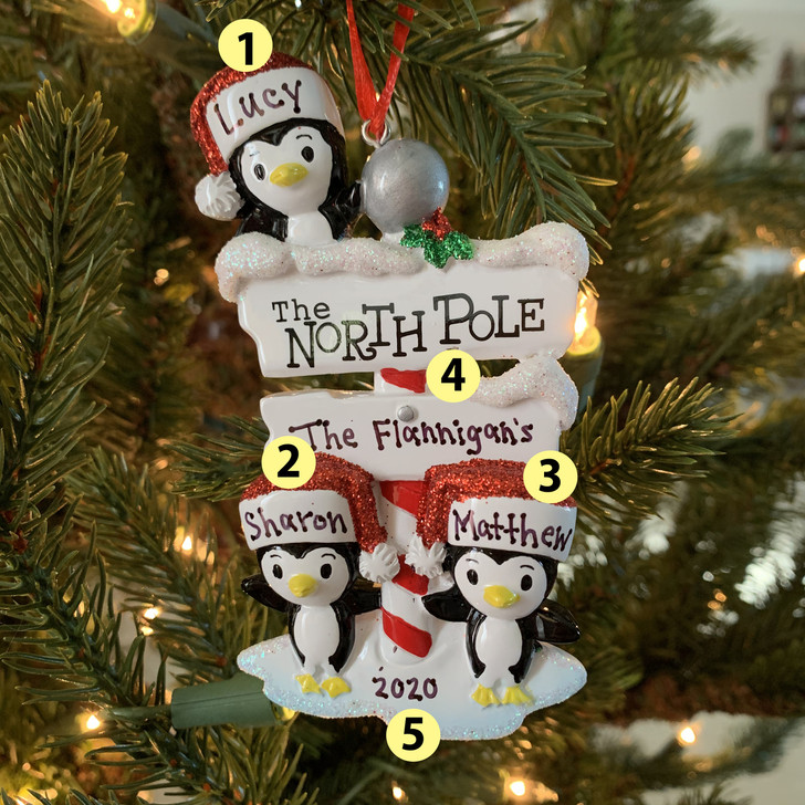 Penguin Family of 3 at The North Pole Personalized Christmas Ornament OR1739-3 -2