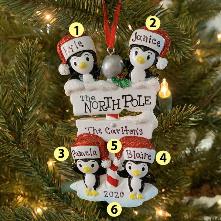 Penguin Family of 4 at The North Pole Personalized Christmas Ornament OR1739-4 -2