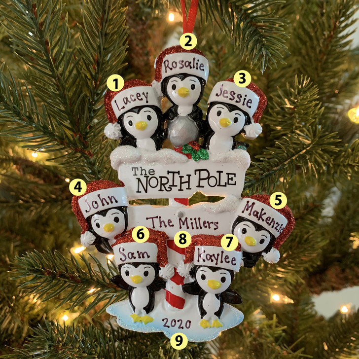 Penguin Family of 7 at The North Pole Personalized Christmas Ornament OR1739-7 -2