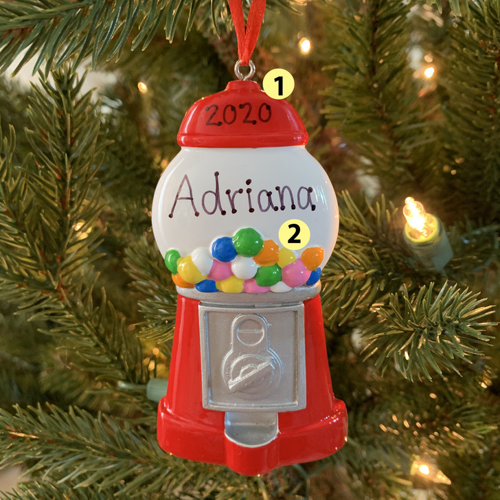 Colorful Gumball Machine Personalized Christmas Ornament OR1892 -2