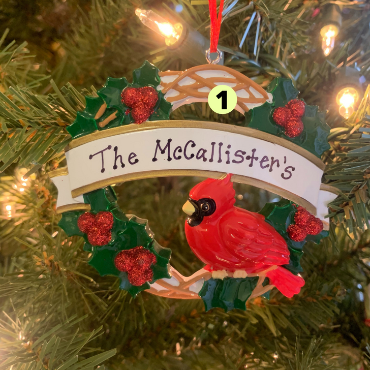 Cardinal with Wreath Personalized Christmas Ornament OR1905 -2