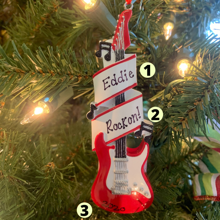Red Electric Guitar Personalized Christmas Ornament OR1966 -2
