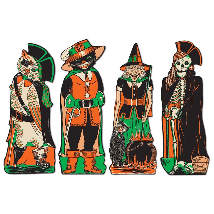 "17"" Vintage Beistle Halloween Paper Cutout Decorations Fancy Dress Set of 4 01181"