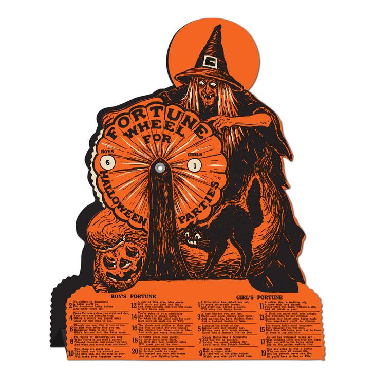 "9.25"" Vintage Beistle Halloween Paper Decoration Witch Fortune Wheel Game 01552"