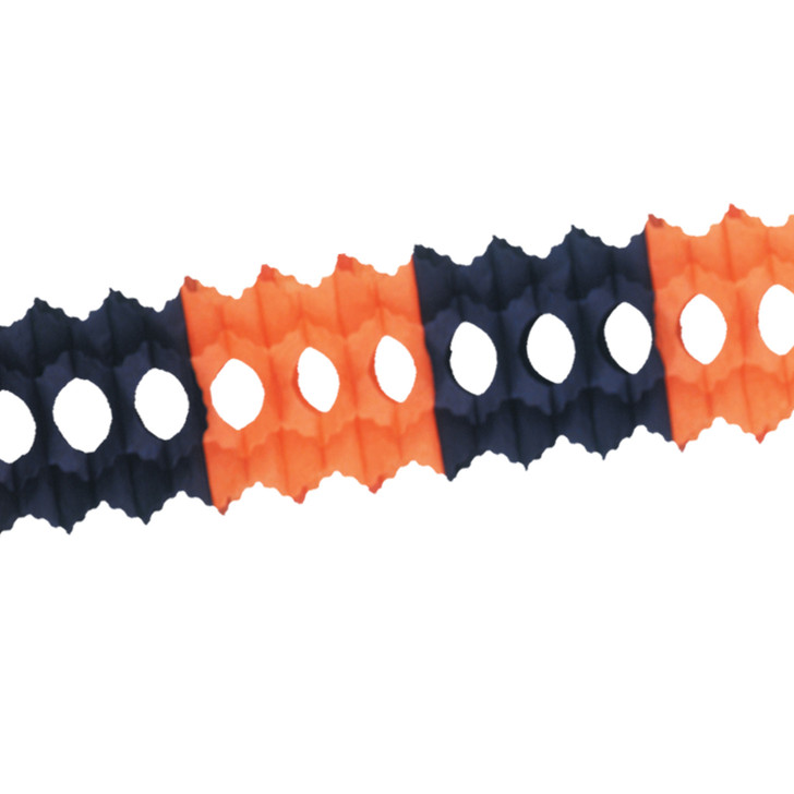12' Beistle  Orange and Black Tissue Paper Halloween Garland 55036-OB