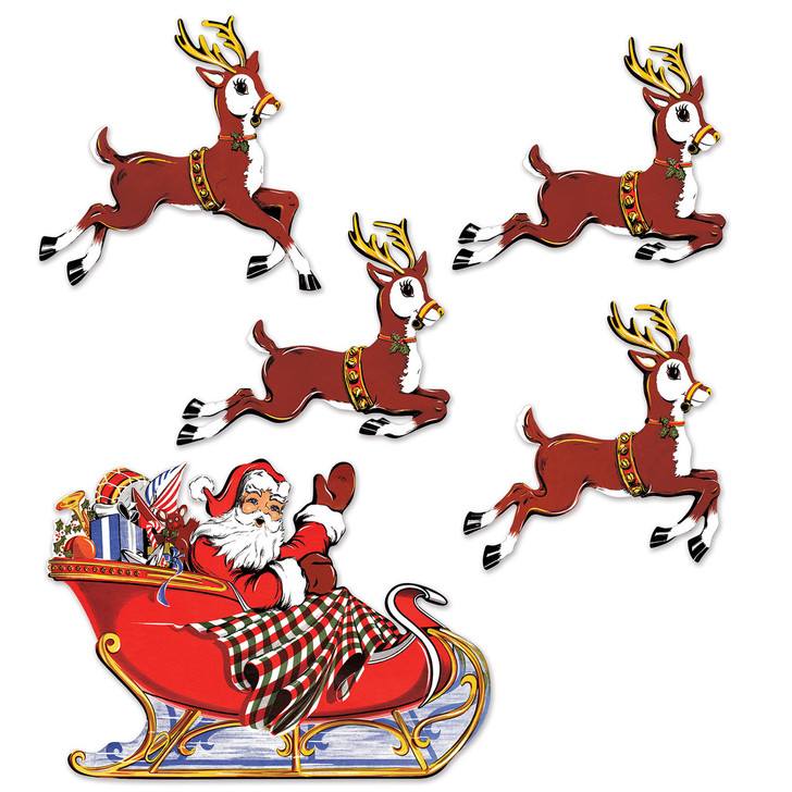 Beistle Vintage Santa and Sleigh with Reindeer Cutouts 20055