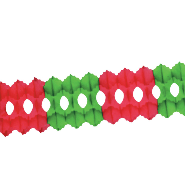 """Beistle Vintage 12' x 5.5"""" Red and Green Tissue Paper Garland 55035-RG"""