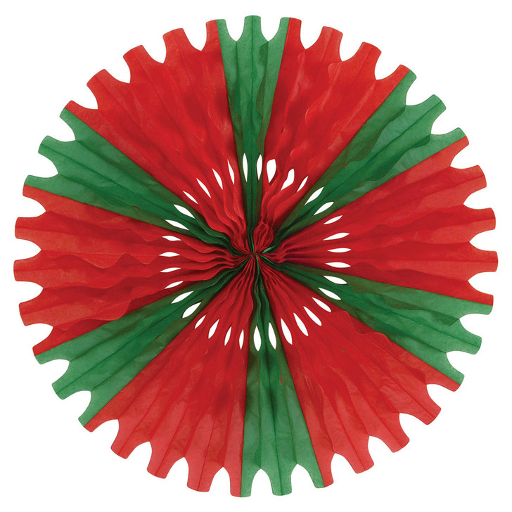 "Beistle Vintage 25"" Red and Green Tissue Paper Fan Christmas Decoration 55293-RG"