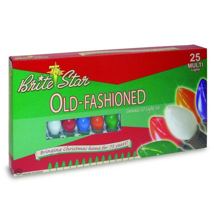 Brite Star 25 Vintage Inspired Multicolor Ceramic C7 Christmas Lights 37-830-00-2