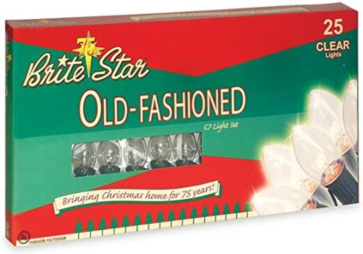 Brite Star 25 Vintage Inspired Clear Ceramic C7 Christmas Lights 37-835-00