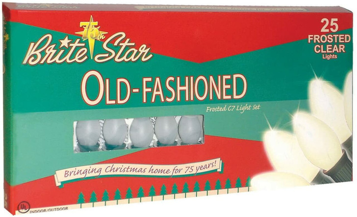 Brite Star 25 Vintage Inspired Frosted White Ceramic C7 Christmas Lights 37-837-00