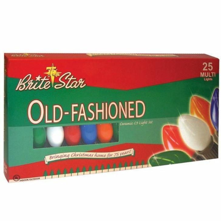 Brite Star 25 Vintage Inspired Multicolor Ceramic C9 Christmas Lights 37-860-00