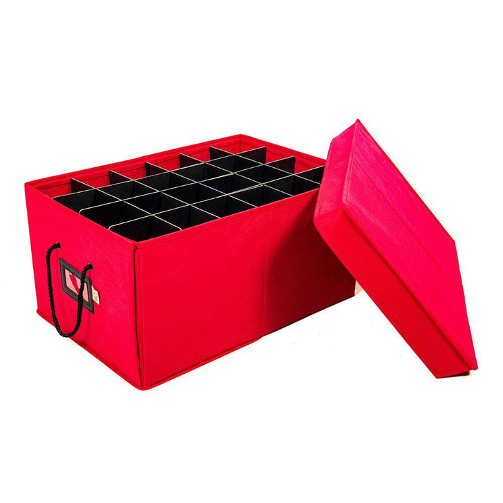 Santa's Bags Red 3 Tray Ornament Storage Drawer with Lid SB-10452-RED