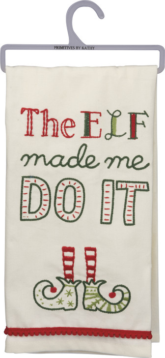 Primitives By Kathy The Elf Made Me Embroider Christmas Kitchen Towel 30929