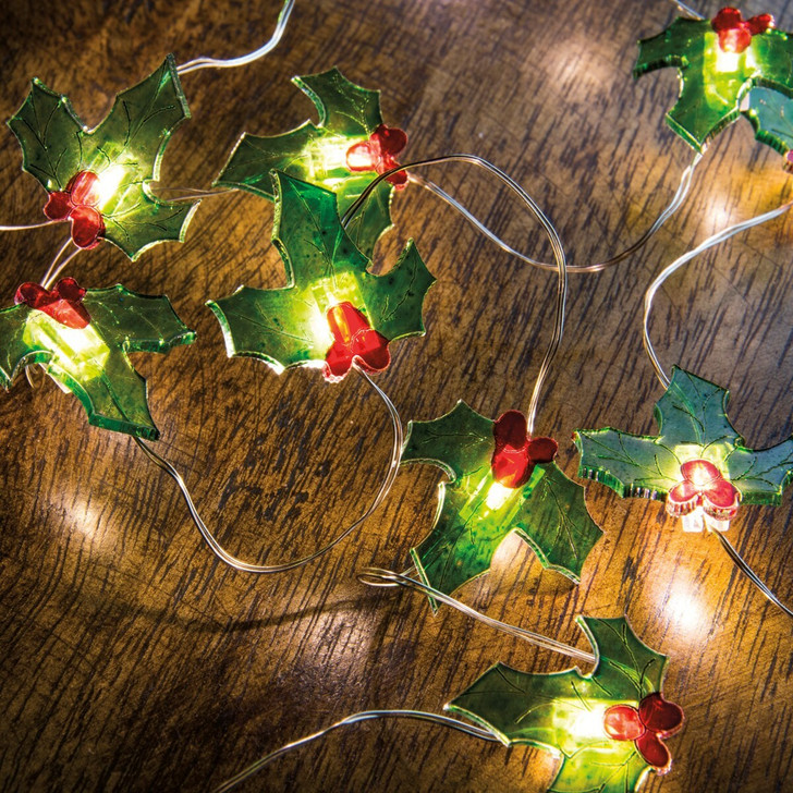 """Primitives By Kathy 42"""" Battery Operated Lighted Holly Wire Christmas Lights 29322"""