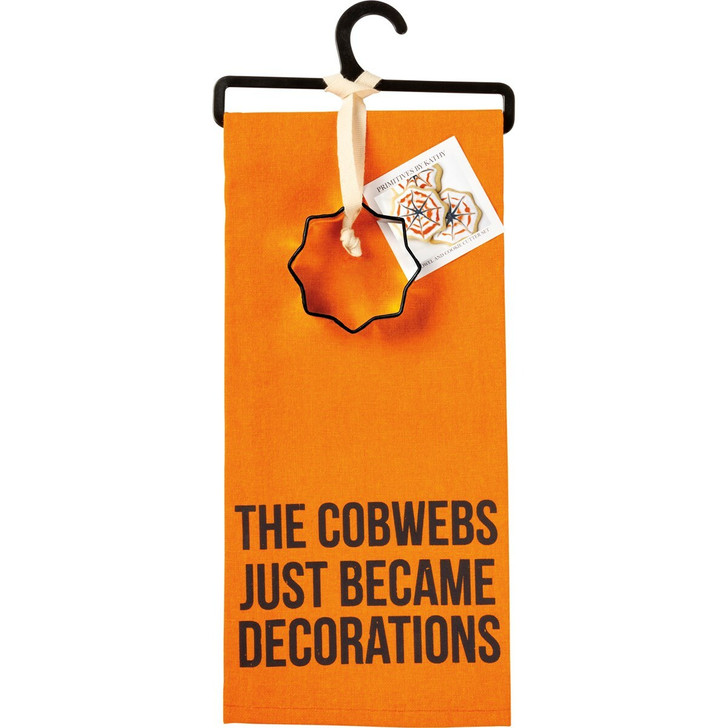 Primitives By Kathy Cobwebs Became Decorations Halloween Kitchen Towel and Cookie Cutter Set 107002