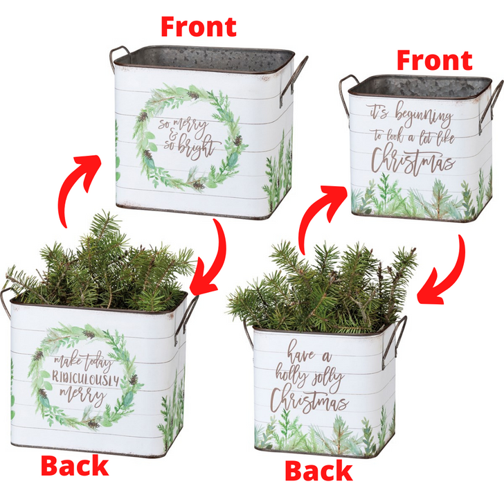Primitives By Kathy Set of 2 Double Sided Metal Christmas Buckets 100602