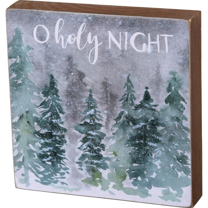 "Primitives By Kathy 5"" O Holy Night Wooden Block Christmas Sign 104167"