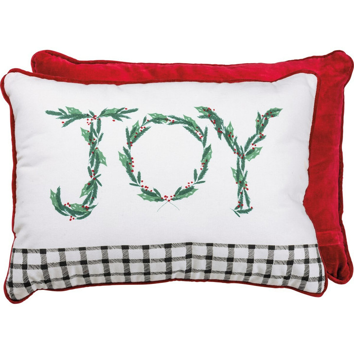 "Primitives By Kathy 20"" JOY Christmas Pillow 106599"