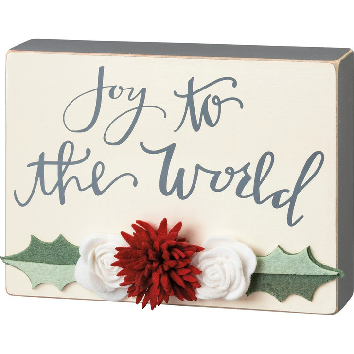 "Primitives By Kathy 8"" Joy To The World Wooden Christmas Box Sign 106652"