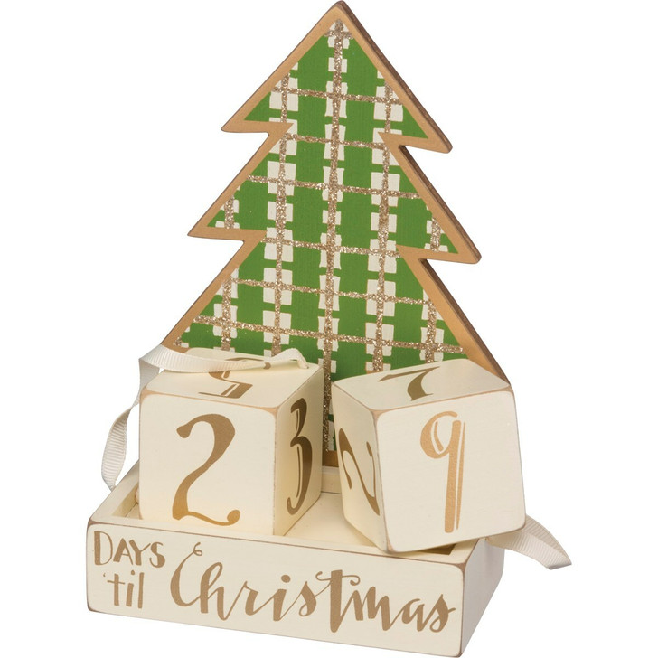 "Primitives By Kathy 6.75"" Green and Gold Christmas Tree Countdown Blocks Advent Calendar 33154"