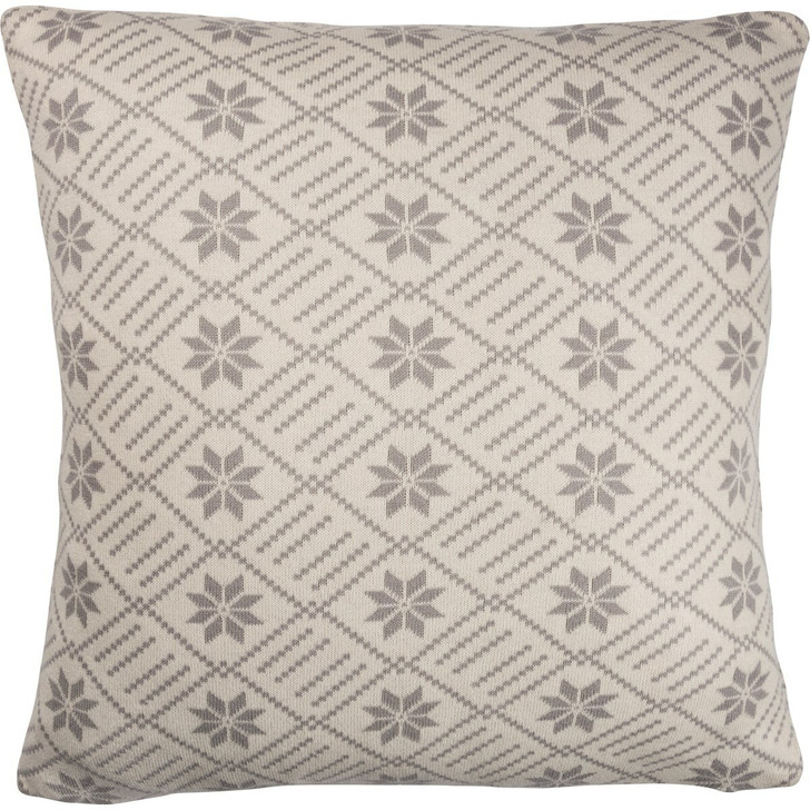 """Primitives By Kathy 18"""" Grey Nordic Knit Christmas Pillow 100263"""