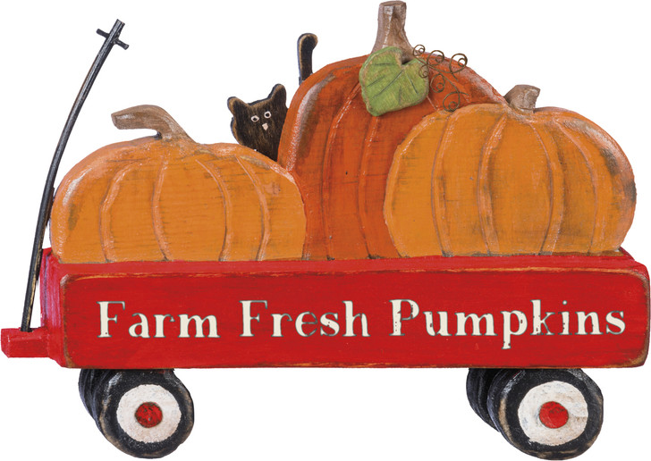 Primitives By Kathy Wooden Farm Fresh Pumpkin Red Wagon Standing Fall Sign 100775