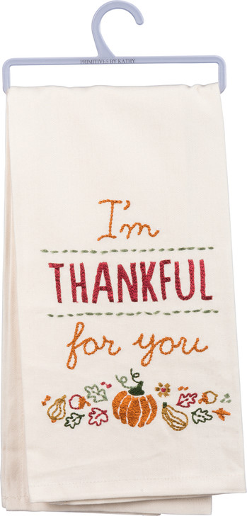 Primitives By Kathy Thankful For You Embroidered Fall Dish Towel 31858