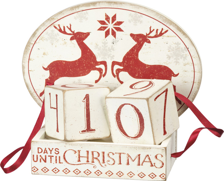 Primitives Af Kathy Nordic Deer Block Christmas Countdown Advent Calendar 103877