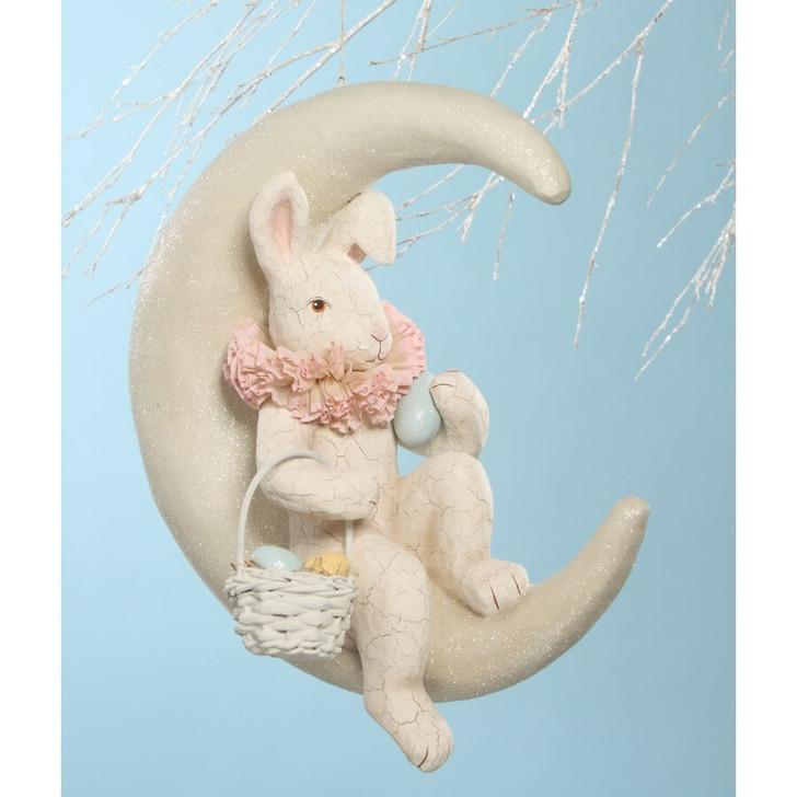 """Bethany Lowe 17"""" Bunny on Moon Easter Figure TJ6213"""
