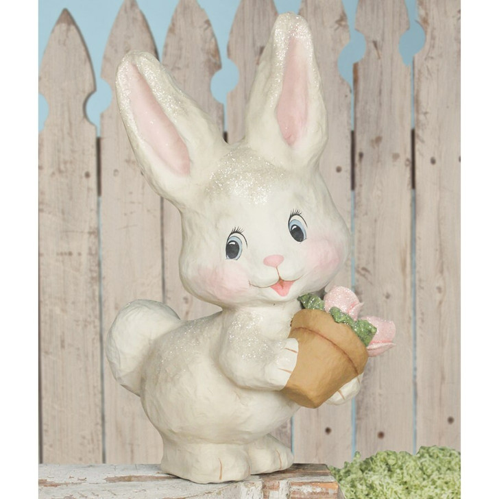 "Bethany Lowe 16.5"" White Bunny with Flower Pot Easter Figure TJ9497"