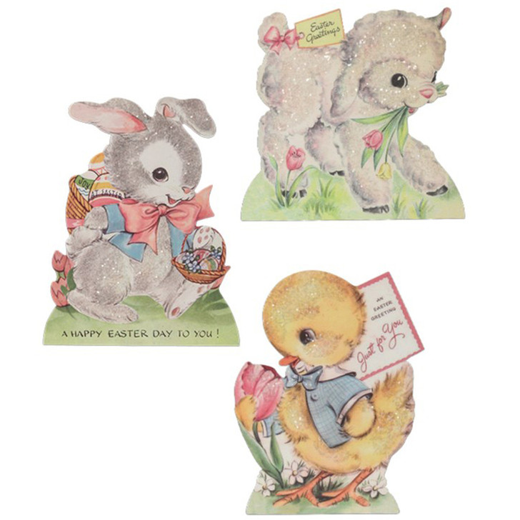 """Bethany Lowe 6.25"""" Sweet Pastel Dummy Board Standing Easter Sign RL9804"""