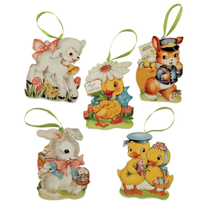 "Bethany Lowe 4"" Set of 5 Retro Die Cute Easter Ornament RL6557"