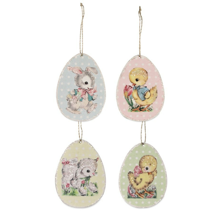 """Bethany Lowe Set of 4 3.25"""" Retro Paper Easter Egg Ornament TL8706"""